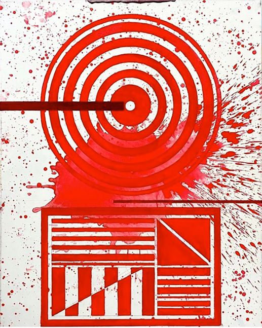 J. Steven Manolis, REDWORLD (Concentric) 2020, 40 x 30 inches, Acrylic on canvas, Red Abstract Painting, Red Abstract wall art for sale at Manolis Projects Art Gallery, Miami, Fl