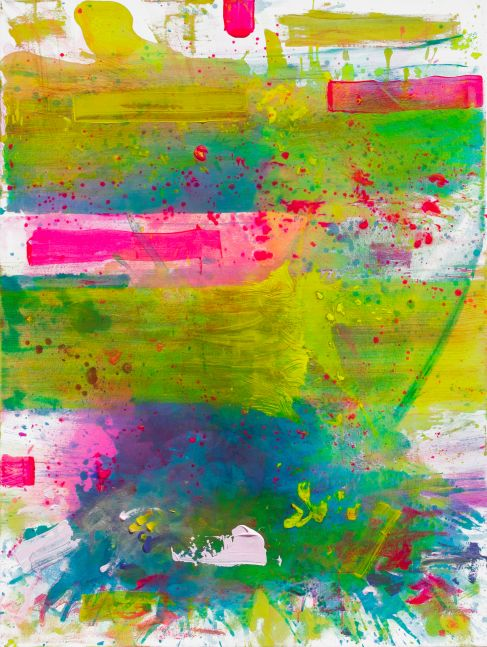 J. Steven Manolis, Palm Beach Light 0700 without Symbology, 2019, Acrylic on canvas, 48 x 36 inches, Bright Gestural Abstraction, Abstract expressionism art for sale at Manolis Projects Art Gallery, Miami, Fl