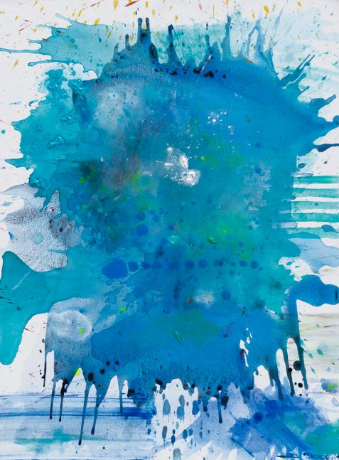 J. Steven Manolis, Palm Beach Light - 0700 HRS without Symbology, 2019, Acrylic painting on canvas, 40 x 30 inches, Blue, Gestural Abstraction, Abstract expressionism art for sale at Manolis Projects Art Gallery, Miami, Fl