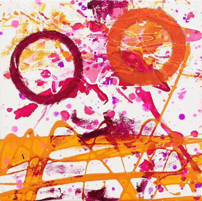 J. Steven Manolis, Flamingo 10.10.05, 2020, acrylic painting on canvas, 10 x 10 inches, Pink and Orange Abstract Art, Abstract expressionism art for sale at Manolis Projects Art Gallery, Miami, Fl