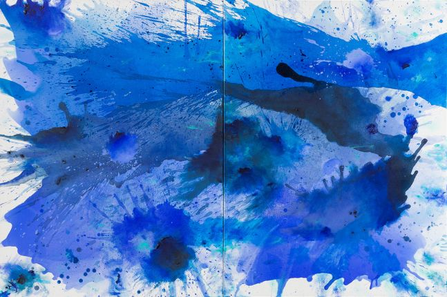 J. Steven Manolis, BlueLand-Splash, 2015, 48 x 72 inches, 2015.03, acrylic painting on canvas, Extra large Wall Art, Blue Abstract Art for sale at Manolis Projects Art Gallery, Miami, Fl