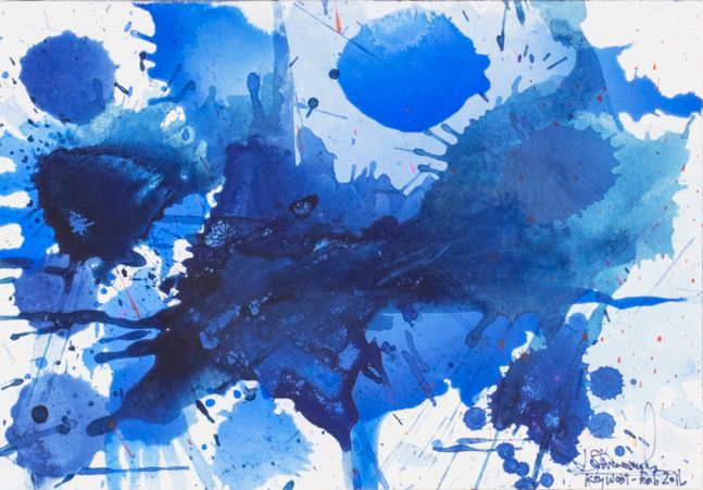 J. Steven Manolis, Splash (Key West) 07.10.09, 2016, Watercolor painting on Arches paper, 7 x 10 inches, Blue Abstract Art, Splash Art for sale at Manolis Projects Art Gallery, Miami, Fl