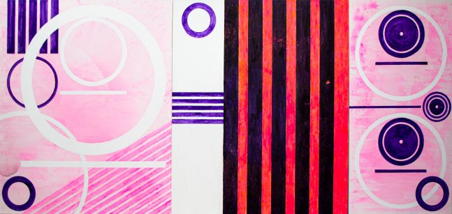J. Steven Manolis, Miami Joy (Triptych), 2020, 72 x 156 inches, Acrylic on canvas, For sale at Manolis Projects Art Gallery, Miami Fl