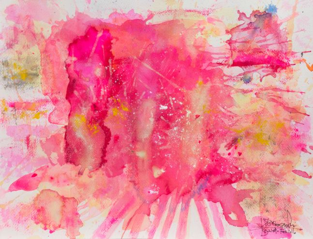 J. Steven Manolis-Flamingo-Key West, 1832-2016-1216.04, watercolor, gouache and acrylic painting on Arches paper, 12 x 16 inches, Pink Abstract Art, Tropical Watercolor paintings for sale at Manolis Projects Art Gallery, Miami, Fl
