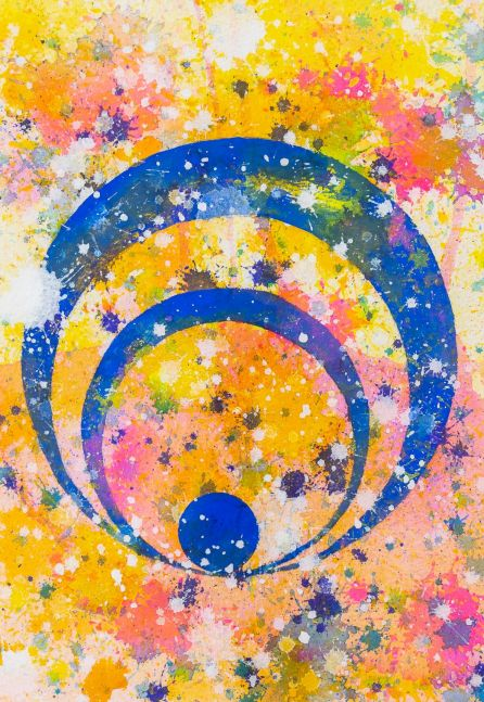 J. Steven Manolis, Concentric 2014.04, watercolor painting on paper, 10.25 x 7 inches, geometric abstraction, Abstract expressionism art for sale at Manolis Projects Art Gallery, Miami, Fl