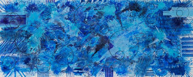 J. Steven Manolis, BlueLand-Splash, 2018, 72 x 180 inches, Acrylic on canvas, Abstract expressionism paintings for sale at Manolis Projects Art Gallery, Miami, Fl