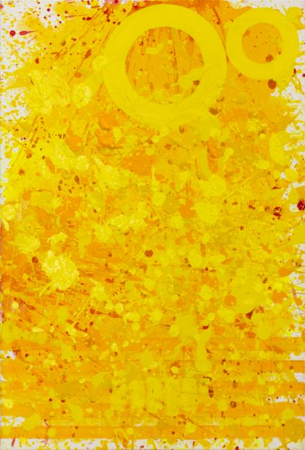 J. Steven Manolis, Sunshine (36.24.02), #11 sunshine series, 2020, acrylic and latex enamel on canvas, 36 x 24 inches, Yellow Abstract Expressionism Paintings for Sale at Manolis Projects Art Gallery, Miami Fl