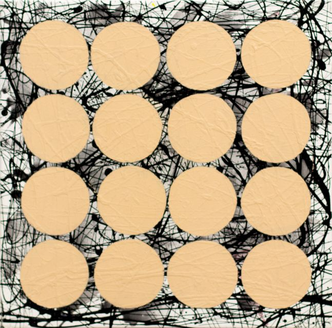 J. Steven Manolis,  JSM, Graphic (Titanium Buff), 2020, Acrylic and latex on canvas, 24 x 24 inches, for sale