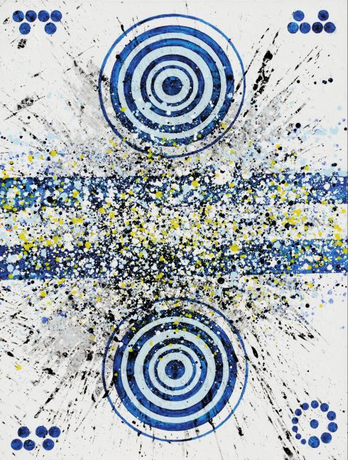 j. Steven Manolis, Hamptons 27 (Four Seasons-Winter), 2016, Acrylic painting on canvas, 48 x 36 inches, Geometric Abstract Painting, Abstract Expressionism art for sale at Manolis Projects Art Gallery, Miami, Fl