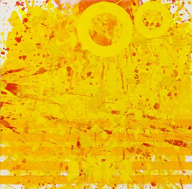 J. Steven Manolis, Sunshine XIII (24.24.02), 2020, acrylic and latex enamel on canvas, 24 x 24 inches, Sunshine art, Yellow Abstract Art for Sale at Manolis Projects Art Gallery, Miami Fl
