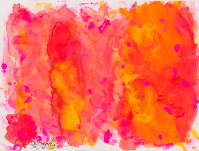 J. Steven Manolis, Flamingo 1832-2016 (Key West) 09.12.01, 2016, watercolor painting on paper, 9 x 12 inches, Pink and orange Abstract Art, Tropical Watercolor paintings for sale at Manolis Projects Art Gallery, Miami, Fl