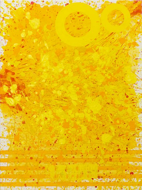 J. Steven Manolis, Sunshine (48.36.02), #6 sunshine series, 2020, acrylic and latex enamel on canvas, 48 x 36 inches, Sunshine art, Yellow Abstract Art for Sale at Manolis Projects Art Gallery, Miami Fl