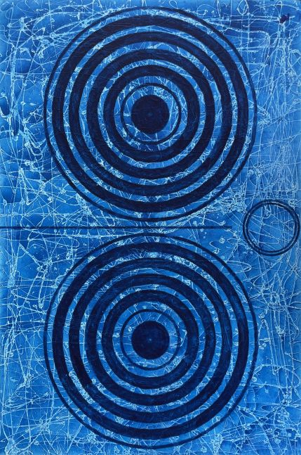 J. Steven Manolis, BlueLand Splash (Concentric), 2020, Acrylic and Latex Enamel on Canvas, 72 x 48 inches, Abstract expressionism paintings for sale at Manolis Projects Art Gallery, Miami, Fl