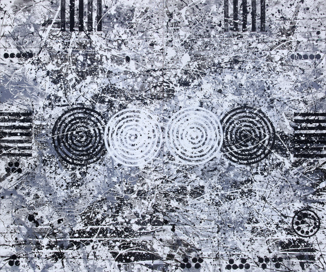 J. Steven Manolis, Tolerance...Black, White, Grey, 2015, 60 x 72 inches, 2015.01, Large Black and White Wall Art, Abstract expressionism art for sale at Manolis Projects Art Gallery, Miami, Fl