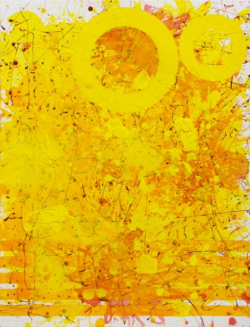 J. Steven Manolis, Sunshine (30.22.01), 2021, Watercolor, Acrylic and latex enamel on paper, 30 x 22 inches, Sunshine Art, Yellow Abstract art for Sale at Manolis Projects Art Gallery, Miami Fl