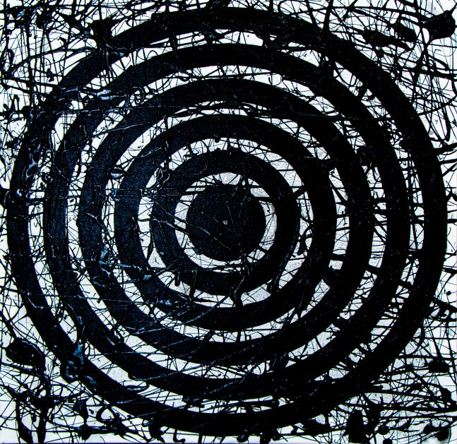 J. Steven Manolis, Black & White Concentric 2020, 30 x 30 inches, Acrylic and Latex Enamel on Canvas, Abstract expressionism paintings for sale at Manolis Projects Art Gallery, Miami, Fl