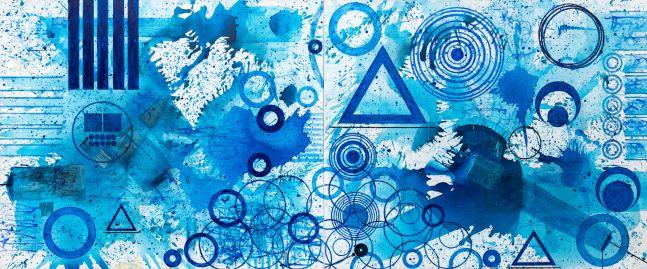 J. Steven Manolis, Splash, 2020, Acrylic painting on canvas, 60 x 144 inches, $135,000, Blue abstract art