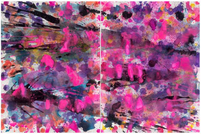 J. Steven Manolis, Flamingo 2014.01 (diptych), watercolor painting on paper, 24 x 36 inches (24x18 each), J. Steven Manolis, Flamingo (sun-filled), Acrylic painting on canvas, 30 x 30 inches, Flamingo Art, Abstract expressionism art for sale at Manolis Projects Art Gallery, Miami, Fl
