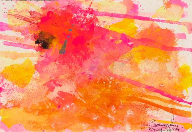 J. Steven Manolis,  JSM, Flamingo 1832-2016 (Key West) 07.10.03, watercolor-gouache, 7 x 10 inches, Abstract expressionism paintings for sale at Manolis Projects Art Gallery, Miami, Fl