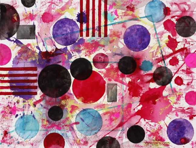J. Steven Manolis, Redworld-Party, 2016, 12 x 16 inches, watercolor on arches paper, Abstract expressionism paintings for sale at Manolis Projects Art Gallery, Miami, Fl