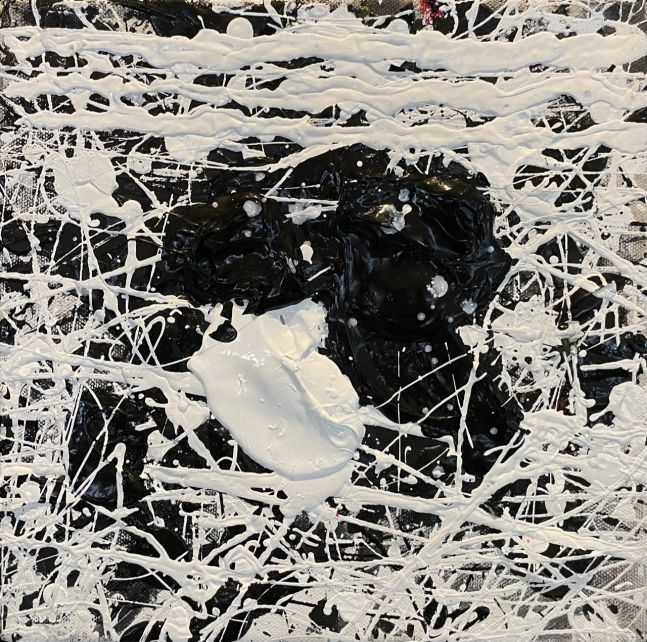 J. Steven Manolis, Black & White, 10.10.07, 2019, Acrylic and Latex Enamel on canvas, 10 x 10 inches, Black and White Abstract painting, Abstract expressionism art for sale at Manolis Projects Art Gallery, Miami, Fl