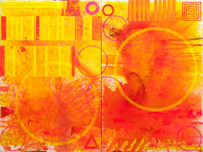 J. Steven Manolis,  Biscayne Bay (Sunrise), 2020, Acrylic on canvas, 2 panels-72x96 inches, Geometric Abstract Art, Miami Wall art For sale at Manolis Projects Art Gallery, Miami Fl