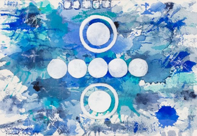 J. Steven Manolis, Splash-Key West (Social Conscious) 07.10.04, 2016, Watercolor, Acrylic and Gouache painting on Arches paper, 7 x 10 inches, Blue Abstract Art, Splash Art for sale at Manolis Projects Art Gallery, Miami, Fl