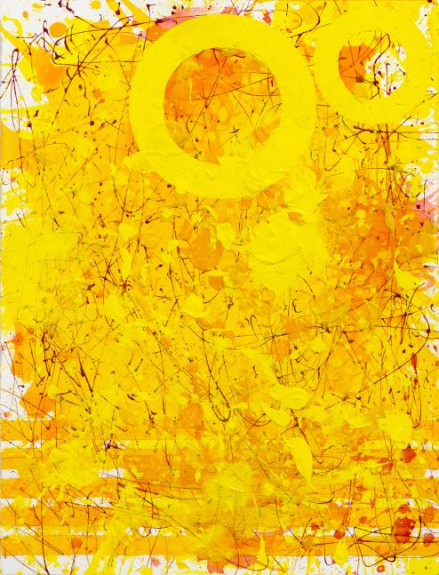 J. Steven Manolis, Sunshine (33.22.03), Acrylic and watercolor on arches paper, 33 x 22 inches, Sunshine Art, Yellow Abstract art for Sale at Manolis Projects Art Gallery, Miami Fl