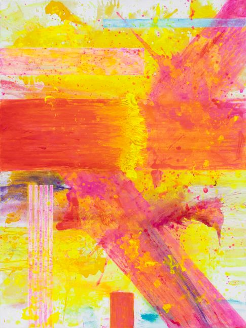 J. Steven Manolis, Palm Beach Light Sunrise without Symbology, Acrylic painting on canvas, 2019, 48 x 36 inches, pink, yellow, orange, Gestural Abstraction, Abstract expressionism art for sale at Manolis Projects Art Gallery, Miami, Fl