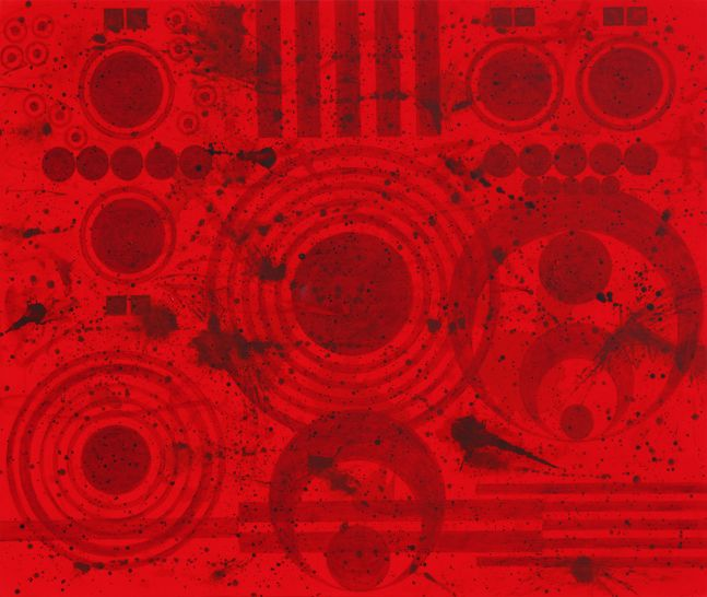 J. Steven Manolis, REDWORLD Glaze (Self Portrait), 60.96.01, Acrylic and Latex Enamel with Glaze finish on canvas, 60 x 96 inches, Red Abstract Art, Large Abstract Wall Art for sale at Manolis Projects Art Gallery, Miami, Fl