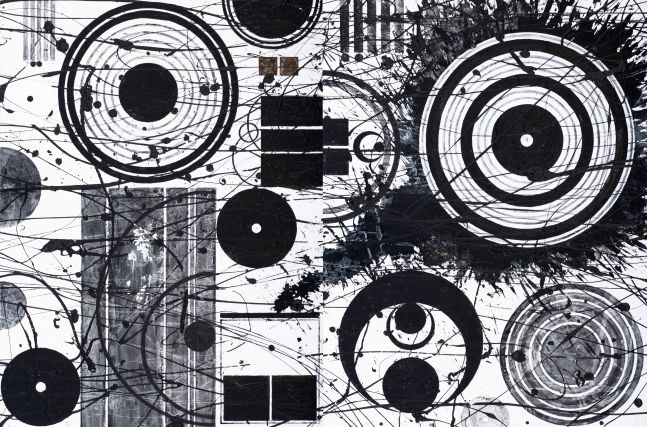 J. Steven Manolis, Black-and-White (SSM), 2018, 48.72.01, 48 x 72 inches, Large Black and White Wall Art, Abstract expressionism art for sale at Manolis Projects Art Gallery, Miami, Fl