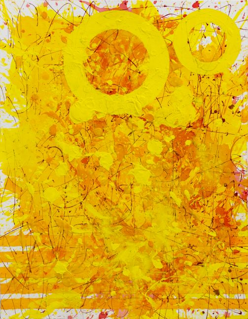 J. Steven Manolis, Sunshine (30.22.04), 2021, Watercolor, Acrylic and latex enamel on paper, 30 x 22 inches, Sunshine Art, Yellow Abstract art for Sale at Manolis Projects Art Gallery, Miami Fl