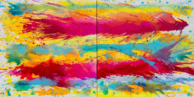 J. Steven Manolis, Biscayne Bay-Sun, Water & Sky 2014.04 (diptych), acrylic on canvas, 36 x 72 inches,