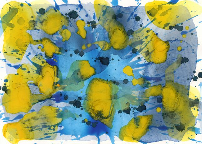 J. Steven Manolis, Splash (Sun and Water), 2006, Watercolor painting on paper, 10 x 14 inches, Blue Abstract Art, Splash Art for sale at Manolis Projects Art Gallery, Miami, Fl