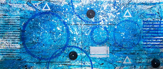 J. Steven Manolis, Splash (concentric) painting, 2020, 60 x 144 inches, Acrylic and Latex painting on Canvas, Extra large Wall Art, Blue Abstract Art for sale at Manolis Projects Art Gallery, Miami, Fl