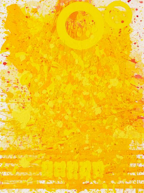 J Steven Manolis, Sunshine (40.30.01), #8 sunshine series, 2020, acrylic and latex enamel on canvas, 40 x 30 inches, Sunshine art, Yellow Abstract Art for Sale at Manolis Projects Art Gallery, Miami Fl
