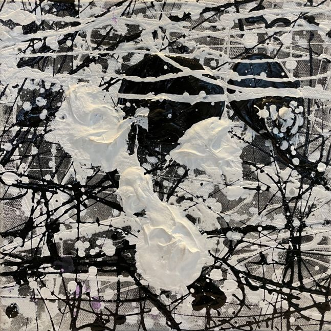 J. Steven Manolis, Black & White, 10.10.38, Black and White Abstract painting, Abstract expressionism art for sale at Manolis Projects Art Gallery, Miami, Fl