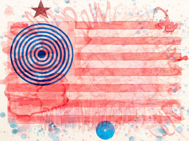 J. Steven Manolis, Happy Birthday America 2, 2021, watercolor on paper