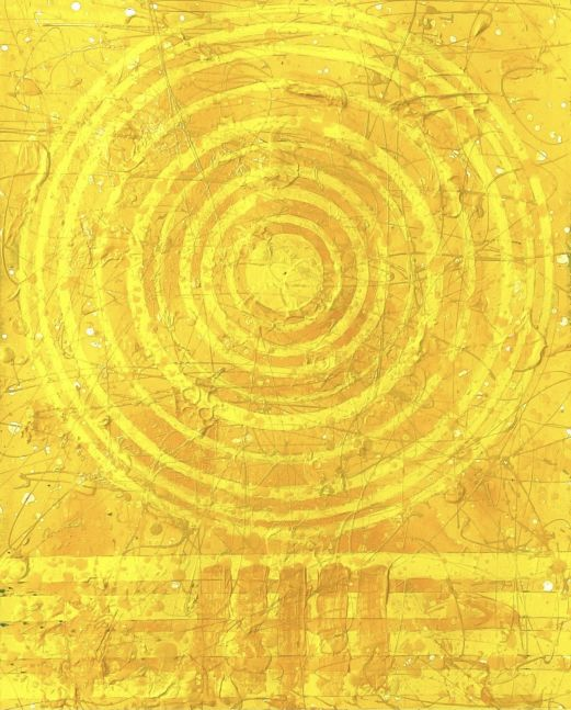 J. Steven Manolis, Sunshine (30.22.05), 2020, Acrylic and Latex Enamel on Arches Paper, 30 X 22.5 inches, sunshine art, yellow abstract art for sale