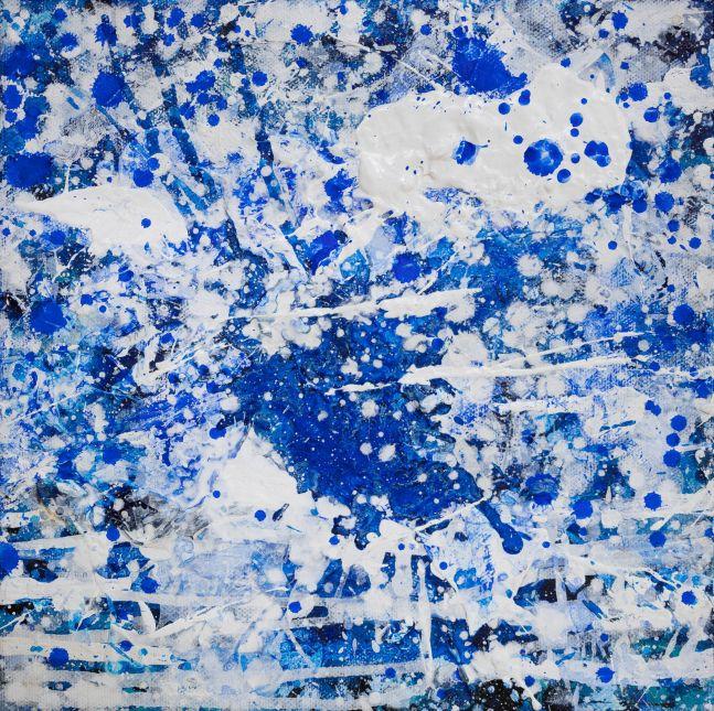 J. Steven Manolis, Splash 10.10.01, Acrylic and Latex Enamel on canvas, 10 x 10 inches, Splash Art, Blue Abstract art for sale