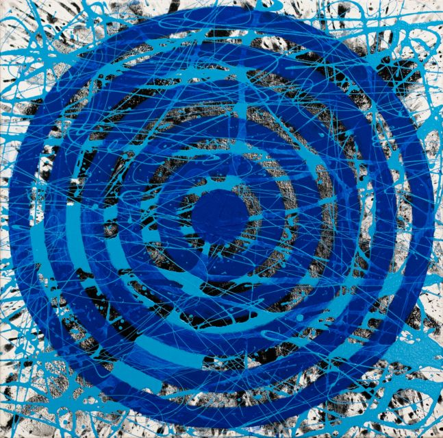 J. Steven Manolis, Blue Concentric 24.24.01, 2020, acrylic painting on canvas, 24 x 24 inches, geometric abstraction, Abstract expressionism art for sale at Manolis Projects Art Gallery, Miami, Fl
