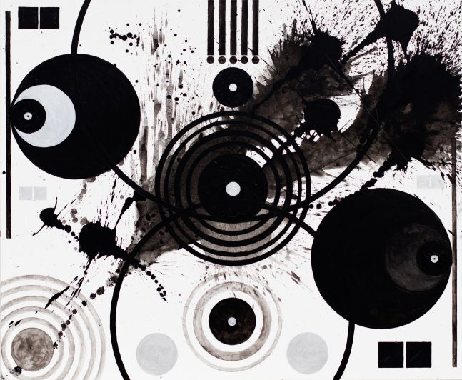 J. Steven Manolis, Black and White (Splashes, Symbols, and Marks),  2018, 60 x 72 inches, Large Black and White Wall Art, Abstract expressionism art for sale at Manolis Projects Art Gallery, Miami, Fl