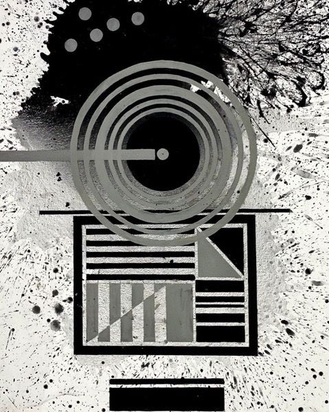 J. Steven Manolis,  Black & White (Concentric) 2020, 40 x 30 inches, Acrylic and Latex Enamel on Canvas, Large Black and White Wall Art, Abstract expressionism art for sale at Manolis Projects Art Gallery, Miami, Fl
