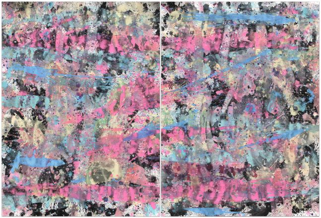 J. Steven Manolis, Miami Vice, 2014, gouache and watercolor on paper, diptych, 60 x 88 inches, Tropical Watercolor paintings, Miami Wall Art For sale at Manolis Projects Art Gallery, Miami Fl
