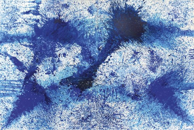 J. Steven Manolis, BlueLand Splash, 2016, quadriptych, 48 x 72 inches each, 96 x 144 inches framed, acrylic painting on canvas, Extra large Wall Art, Blue Abstract Art for sale at Manolis Projects Art Gallery, Miami, Fl