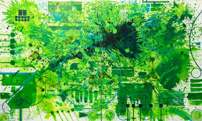 J. Steven Manolis, Green Light, 2018, Acrylic painting on canvas, 72 x 120 inches, Abstract expressionism art for sale