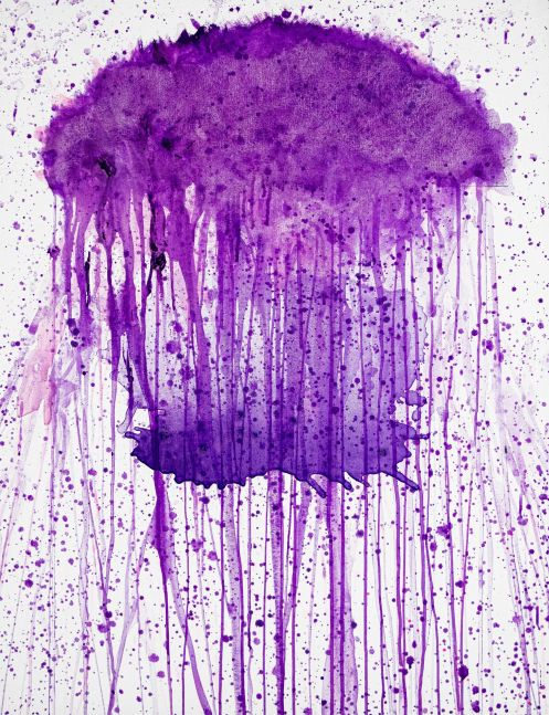 J. Steven Manolis,  Jellyfish (Violet), 2020, 40 x 30 inches, Acrylic painting on Canvas, Acrylic Jellyfish painting, Abstract expressionism art for sale at Manolis Projects Art Gallery, Miami, Fl