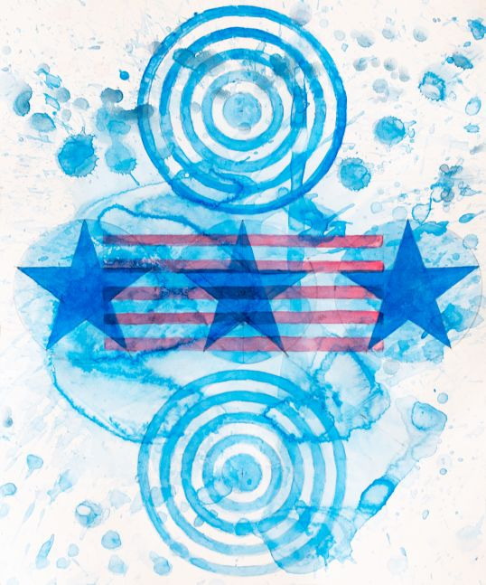J. Steven Manolis, Happy Birthday America 1, 2021, Watercolor on paper, abstract expressionism art