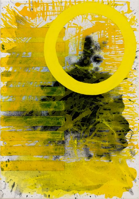 J.Steven Manolis, Sunshine (The Light after the Darkness), 2020, acrylic on canvas, 20 x 14 inches, Sunshine art, Yellow Abstract Art for Sale at Manolis Projects Art Gallery, Miami Fl