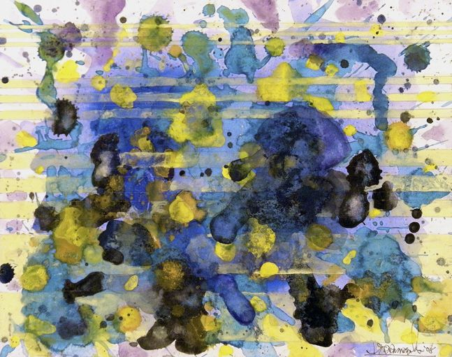 j. Steven Manolis, Water Rhapsody_Sun & Water (RJ's Southampton Beach), 2008, gouache and watercolor on paper, 11 x 14 inches(framed), Abstract Expressionism paintings for sale at Manolis Projects Art Gallery, Miami, Fl